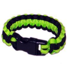 Paracord Survival Rescue Bracelet  (Neon Green Black)