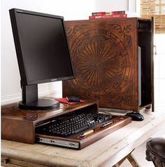 Wood computer box...modern things covered in wood are so cool to me.