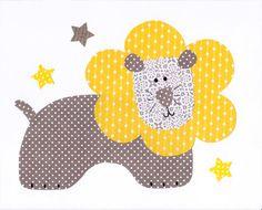 Lion Yellow and Grey Nursery Artwork Print by 3000yardsofthread, $14.00