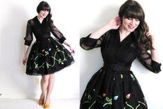 1950s Dress / Black 50s Dress / 50s Illusion Dress by Coldfish, $150.00