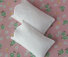 Miniature pillowcases with embroidery. Lovely