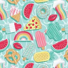 Shop the world's largest marketplace of independent surface designers - Spoonflower Fabric Patterns, Print Patterns, Epic Pools, Cool Pool Floats, Aqua Background, Summer Patterns, Pattern Illustration, Surface Pattern Design, Spoonflower