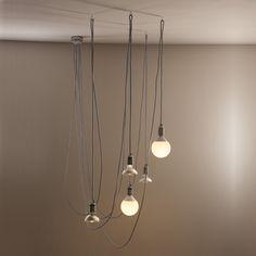 Lampada a sospensione design a 5 luci con cavo grigio Chrome