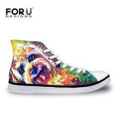 Animals Canvas Shoes Womens Mens Lace-up High Top Sneakers Fitness Walking Shoes
