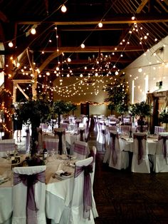 The tithe barn looks stunning at Ufton Court with this lighting display of our festoon light hung in random loops