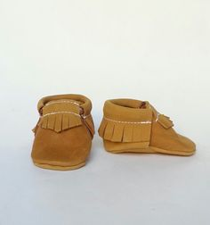 Caramel Leather Moccasin by WillowandFig on Etsy