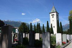 St. Laurentius Church Cemetery (family cemetery) with original steeple in Schaan, Liechtenstein