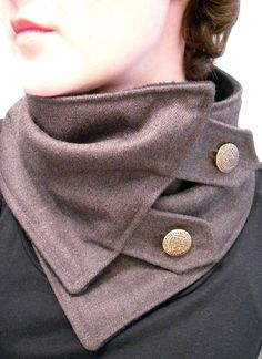 Neck Warmer Scarf in Brown Gray with Crest Buttons