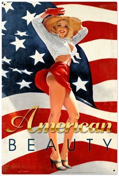 Retro American Beauty - Pin-Up Girl Metal Sign 24 x 36 Inches