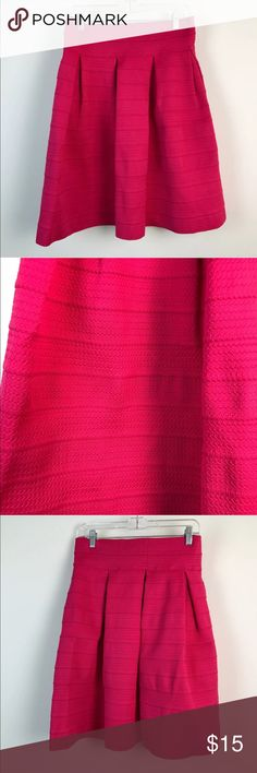 """New York & Co Pink Stretch Pleated Flare Skirt New York & Company Pink Stretch Pleated Textured Flare Career Skirt Large   Gently Worn, Excellent Condition!   Please refer to pictures for additional condition information and if you have any other questions about this item please feel free to ask!  Measurements Laying Flat: Waist: 14 1/4"""" Length: 24"""" New York & Company Skirts Midi"""