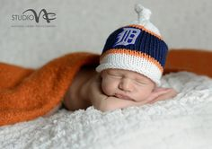 Tigers Newborn Photo Prop...Newborn Boy Baseball Hat.......Hand Knit White, Navy Blue and Orange with English D Sport Hat by smittenwithknitn on Etsy https://www.etsy.com/listing/101420806/tigers-newborn-photo-propnewborn-boy