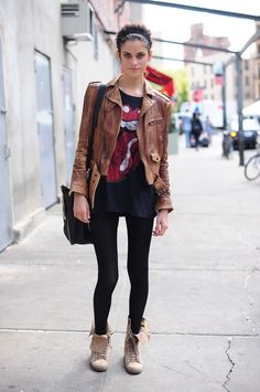 Leather, Graphic Tee, Booties