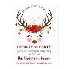 Cute Reindeer Christmas Holiday Dinner Party Postcard