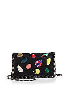 c54cd09b912ff Stella McCartney - Falabella Embellished Faux-Suede Clutch on Chain Stella  Mccartney Handbags