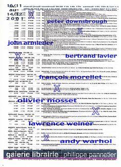 Exposition avec les œuvres de Weiner, Warhol, Mosset, Morellet,Morellet, Lavier, Armleder, Downsbrough, galerie point to point