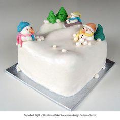 Snowball Fight Christmas Cake by ~aurora-design