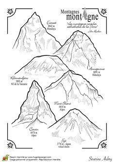 Dessin à colorier des plus hauts sommets du monde - Hugolescargot.com