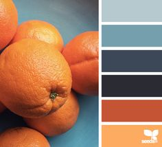 My complementary color palette, along with a very light tint of blue + orange. The orange will be part of the woman's hair/outfit/world