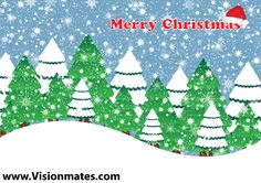 Christmas landscape vector with many winter trees, snow and snowflakes. Download premium Christmas landscape vector in Adobe Illustrator