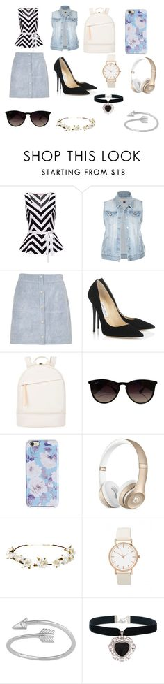 First day of summer back to school outfit by sophia0402096 on Polyvore featuring River Island, Jimmy Choo, Want Les Essentiels de la Vie, Rock 'N Rose, Ray-Ban, Cult Gaia and Isaac Mizrahi