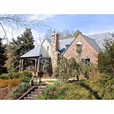 I really love the combo of stone and brick, it looks like a home right out of a storybook. Forest Hills neighborhood, Durham, NC  #durham #bullcity #dreamhome #durhamnc #bestofthebull #durhamrealestate #Realtor #realestate #luxuryrealestate