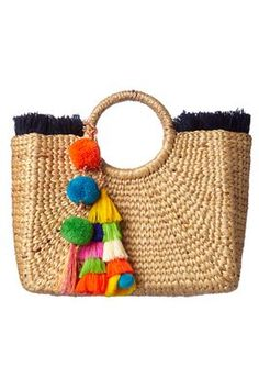 Handwoven hyacinth beach basket with handwoven textile drawstring lining and tassel pom pom charm. If you are an international client we can ship you direct from Asia in 5 - 10 days. Diy Fashion, Fashion Bags, Recycler Diy, Beach Basket, Straw Handbags, Boho Bags, Summer Bags, Straw Bag, Purses And Bags
