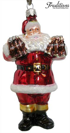 Santa holding Cola Cola Bottles - Glass  Christmas Ornament