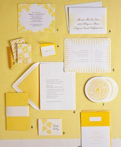 yellow wedding stationery  1. Overlapping letterpress dots by Cheree Berry.  5. A letterpress invitation by Bella Figura pairs yellow bubbles with gray text.  6. Blind-embossed daisies by Modern Press.