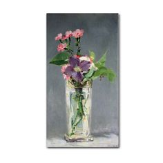 Edouard Manet 'Pinks and Clemantis in a Vase 1882' 14x24 Wall Art