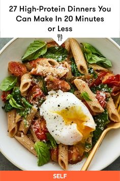 Dinners To Make, Lunches And Dinners, Vegetarian Breakfast, Breakfast Recipes, High Protein Recipes, Healthy Recipes, High Protein Dinner, Plant Based Breakfast, 30 Minute Meals