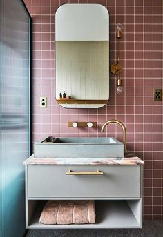 Small apartment design: Interior architect Sophie Bowers' stylish home Concrete basin and brass tapware by Wood Melbourne. Mirrored wall cabinet from Reece. Drawer handle by Lo & Co. Small Apartment Design, Small Apartments, Apartment Interior Design, Decoration Inspiration, Bathroom Inspiration, Decor Ideas, Decorating Ideas, Style Inspiration, Wc Set