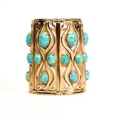 Rare Napier Repousse Cuff Bracelet, Gold Tone with Faux Turquoise Cabochons Incredible Find Amazing Style and Presence This piece is a book