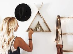Teepee Triangle Shelf/ Reclaimed Wood/ Pallet Art/ Reclaimed Wood Triangle Shelf/ Rustic Home Decor/ Boho Home Decor/ Boho Nursery/ Wall Art