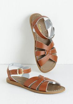 Salt Water Sandal in Tan by Salt Water Sandals - Brown, Solid, Casual, Summer, Flat, Beach/Resort, Variation, Leather, Nautical, Festival, Americana, Best Seller, Boho, Good, 4th of July Sale, Spring, 70s, Top Rated
