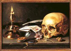Pieter Claesz, Natura morta con teschio e noce, 1645