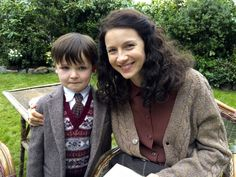 Awww! How cute is this pic, Caitriona Balfe with Rory Burns (Wee Roger) on the set of Outlander!