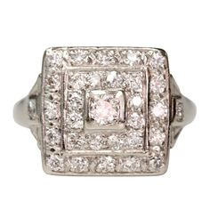Square Art Deco Diamond Ring | 0.75cttw old European and Single cut diamonds set in a vintage palladium mounting. Circa 1930
