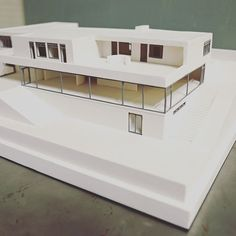 Modernist icon, Tugendhat Villa by Mies van der Rohe. We made this architectural model by creating 3D drawings and prints, moulding and casting in white plaster and adding etched metal details.