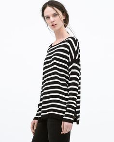 Image 3 of STRIPED BOAT NECK SWEATER from Zara