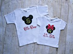 Personalized Big/Little Brother Or Big/Little Sister Mickey or Minnie Mouse Custom Applique Shirt or Onesie- Sibling Shirts- Tee- T-Shirt via Etsy