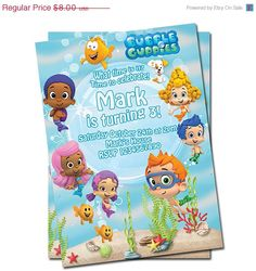 50% off sale Bubble Guppies  Invitation. $4.00, via Etsy.