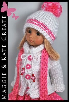 Pink and white outfit on this doll make her ready to add a bit of punch color to your Shabby Chic or Pink and White Christmas decor..It is the unexpected, but still within the color scheme. Mixing it up makes things more interesting and unique in design.