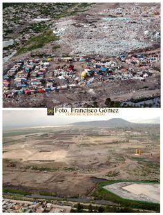Nezahualcóyotl, Méx. 23 de abril 2013. Arriba, imagen tomada en septiembre de 2004; abajo, vista en agosto de 2007 del mismo lugar (tiradero de basura Neza I), pero desde distinto ángulo, viendo hacia Chimalhuacán, donde se realizaría el Proyecto Ciudad Jardín Bicentenario. Foto. Francisco Gómez