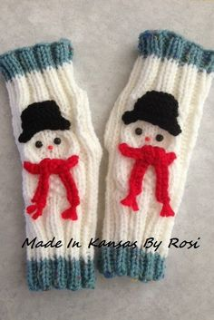 Snowman wrist warmers...