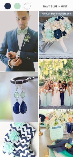 navy blue and mint wedding color combo ideas for 2018 #blueweding #weddingcolors #weddingideas / http://www.deerpearlflowers.com/navy-blue-wedding-color-combo-ideas/
