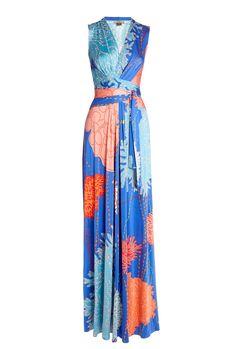 Issa  False Wrap Printed Silk Jersey Maxi Dress  $1,146