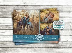 Printable Holiday Card, Merry Christmas greeting card Happy Holidays Happy Everything, snowflake Peace, love and Joy custom photo family greeting card by DazzleDesignGraphics