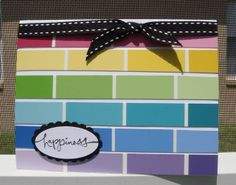 handmade card, rows of paint chip slices, ombre within the color, rainbow order from red at top down to purple . Best part is paint chips are free! Paint Chip Cards, Paint Sample Cards, Paint Samples, Card Making Inspiration, Making Ideas, Cute Cards, Diy Cards, Rainbow Card, Rainbow Ribbon