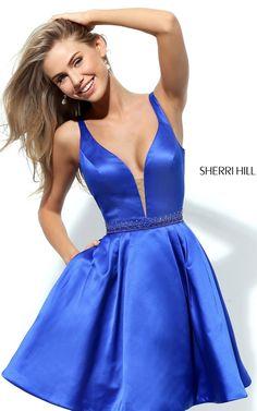 Satin V Neck Royal Sherri Hill 50495 Short A Line Prom Dress