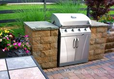"Slide-In Grill Station Idea For Allan Block Courtyard.  Designs for 30"", 39"" and 48"" grills."